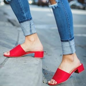 Shoes - New Red suede slide mules